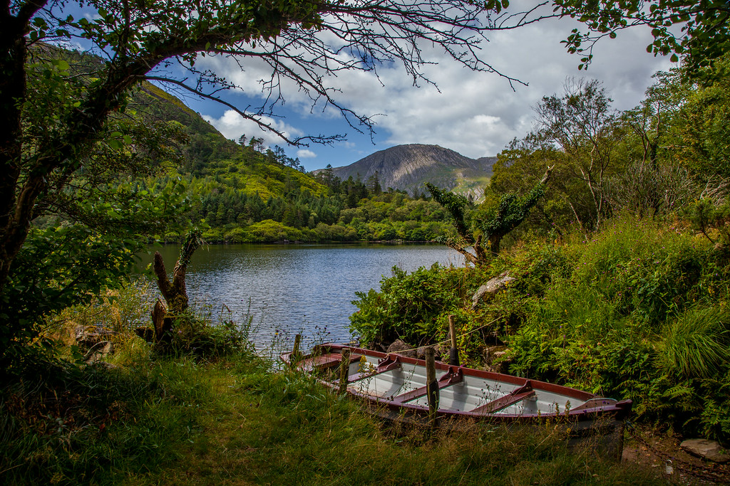 Glanmore Lake with its magnificent backdrop of the Caha Mountains.<br /> More hiking on the Beara Way.<br /> Tuesday, August 19, 2014